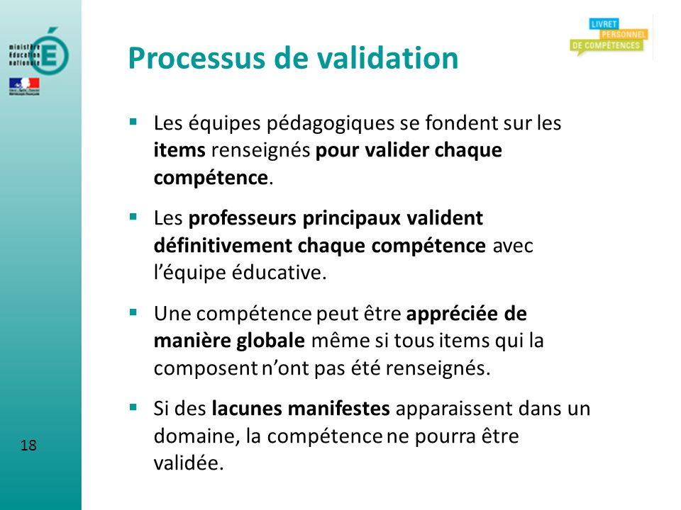 Processus de validation