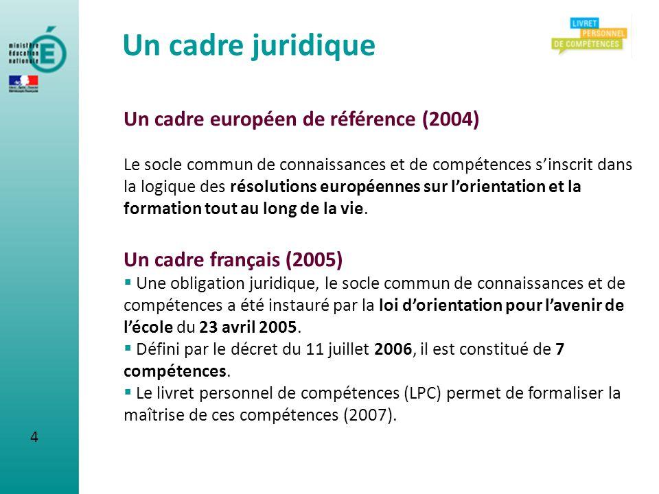 Un cadre juridique Un cadre européen de référence (2004)