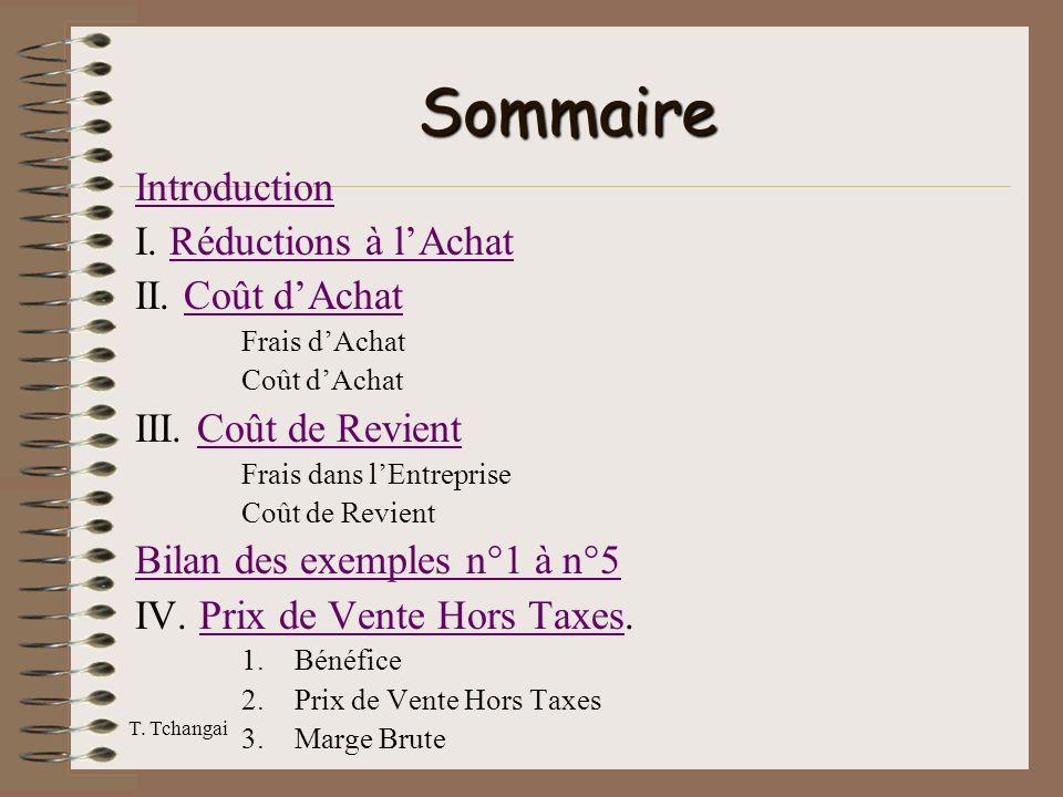 Sommaire Introduction I. Réductions à l'Achat II. Coût d'Achat