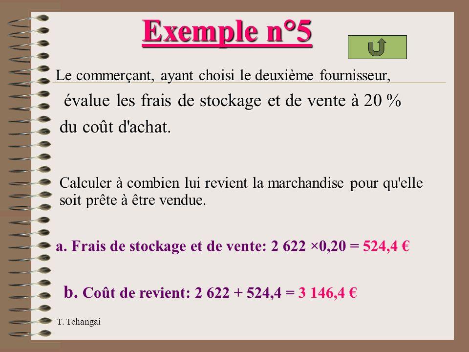 Exemple n°5 évalue les frais de stockage et de vente à 20 %