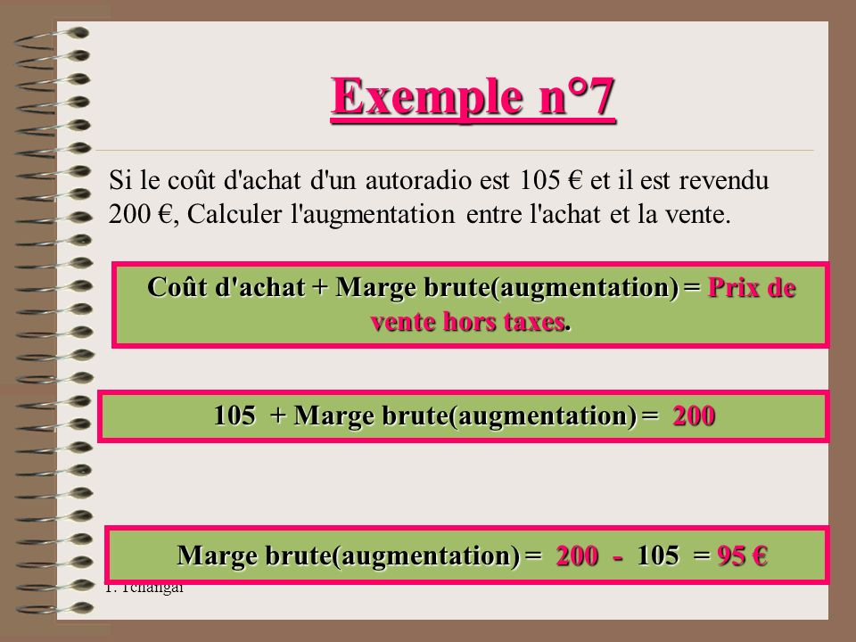 Exemple n°7 Marge brute(augmentation) = 200 - 105 = 95 €