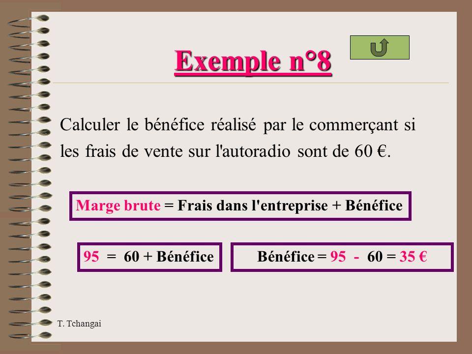 Exemple n°8 Calculer le bénéfice réalisé par le commerçant si