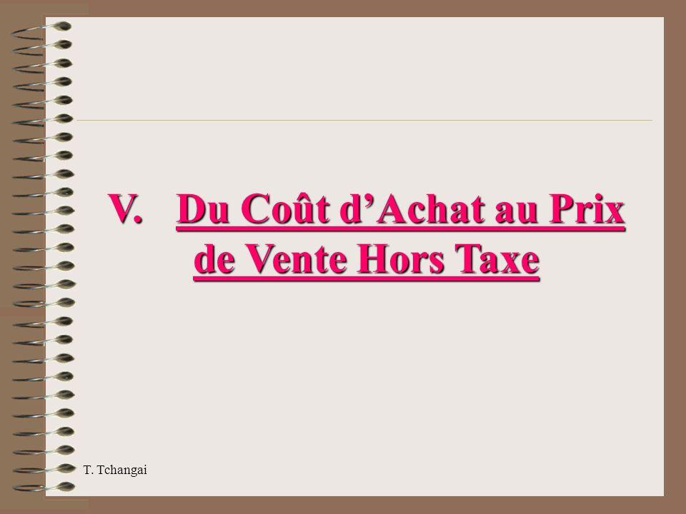 V. Du Coût d'Achat au Prix de Vente Hors Taxe