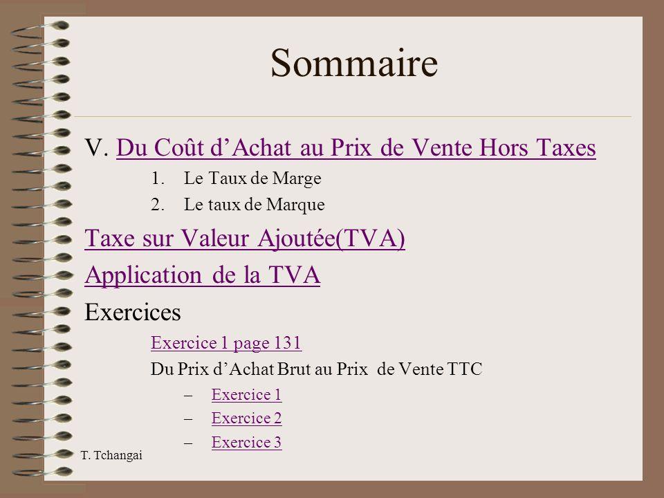 Sommaire V. Du Coût d'Achat au Prix de Vente Hors Taxes
