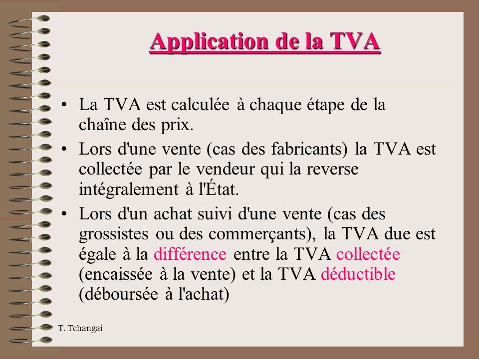 Application de la TVA La TVA est calculée à chaque étape de la chaîne des prix.