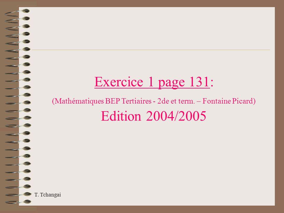 Exercice 1 page 131: (Mathématiques BEP Tertiaires - 2de et term