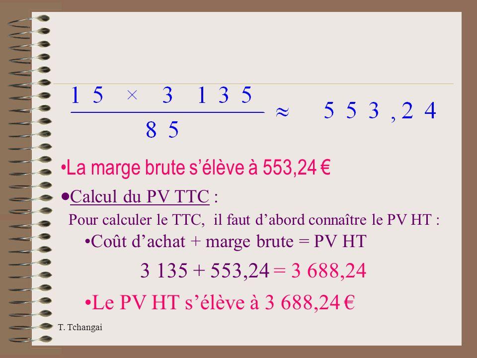 La marge brute s'élève à 553,24 € ·Calcul du PV TTC :