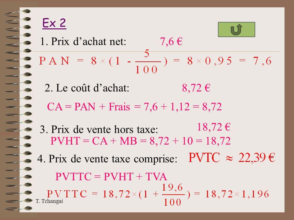 3. Prix de vente hors taxe: PVHT = CA + MB = 8,72 + 10 = 18,72