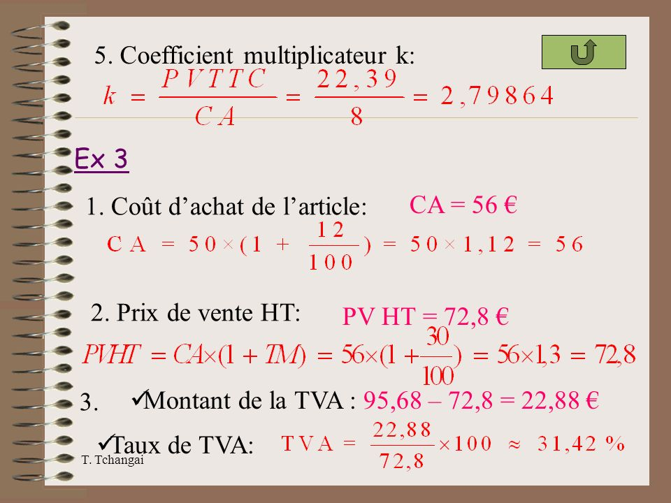5. Coefficient multiplicateur k: