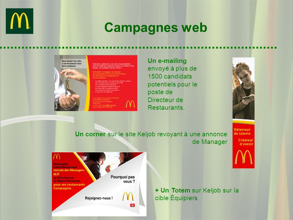 Campagnes webUn e-mailing envoyé à plus de 1500 candidats potentiels pour le poste de Directeur de Restaurants.