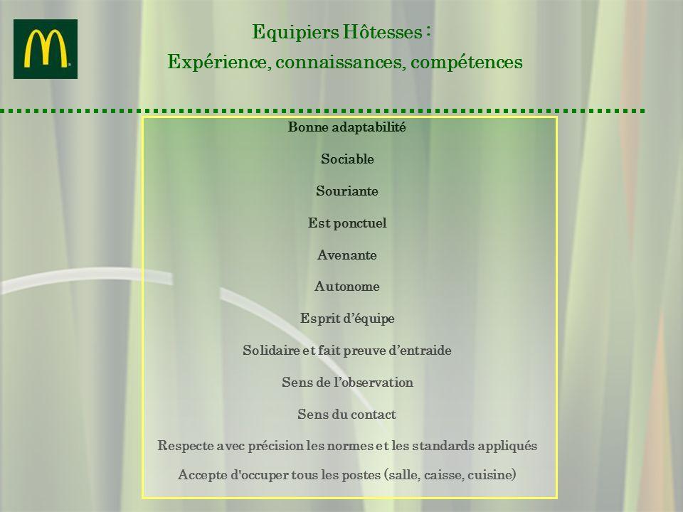 Equipiers Hôtesses : Expérience, connaissances, compétences