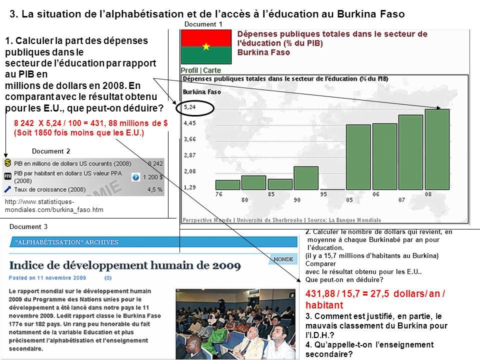 3. La situation de l'alphabétisation et de l'accès à l'éducation au Burkina Faso
