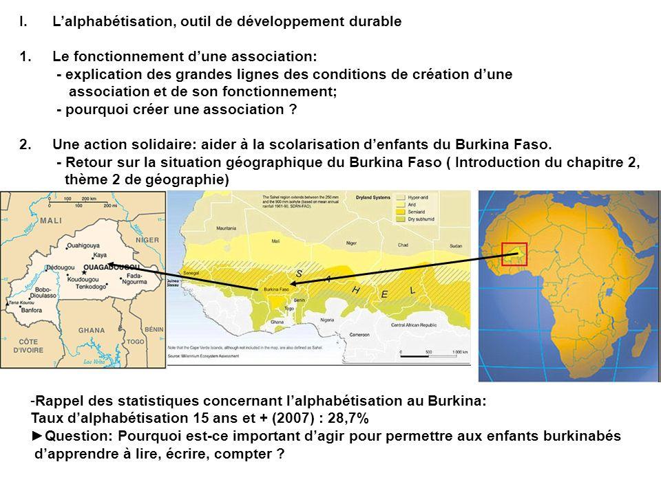 L'alphabétisation, outil de développement durable