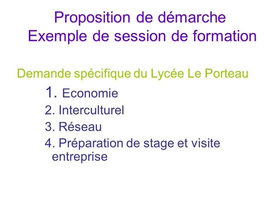 Proposition de démarche Exemple de session de formation