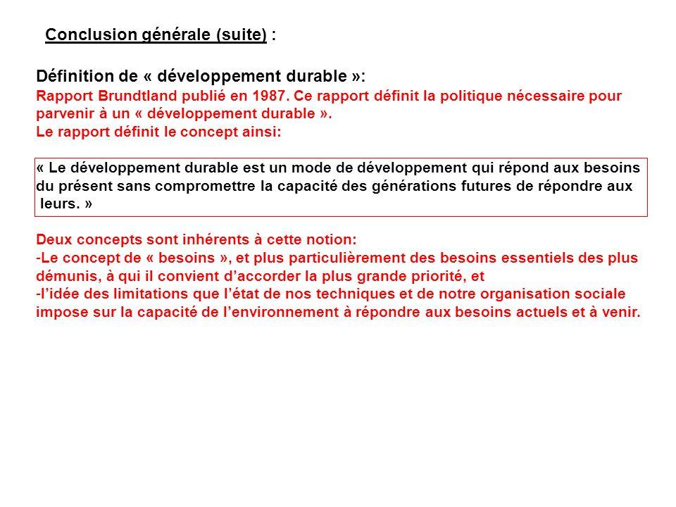 Conclusion générale (suite) :