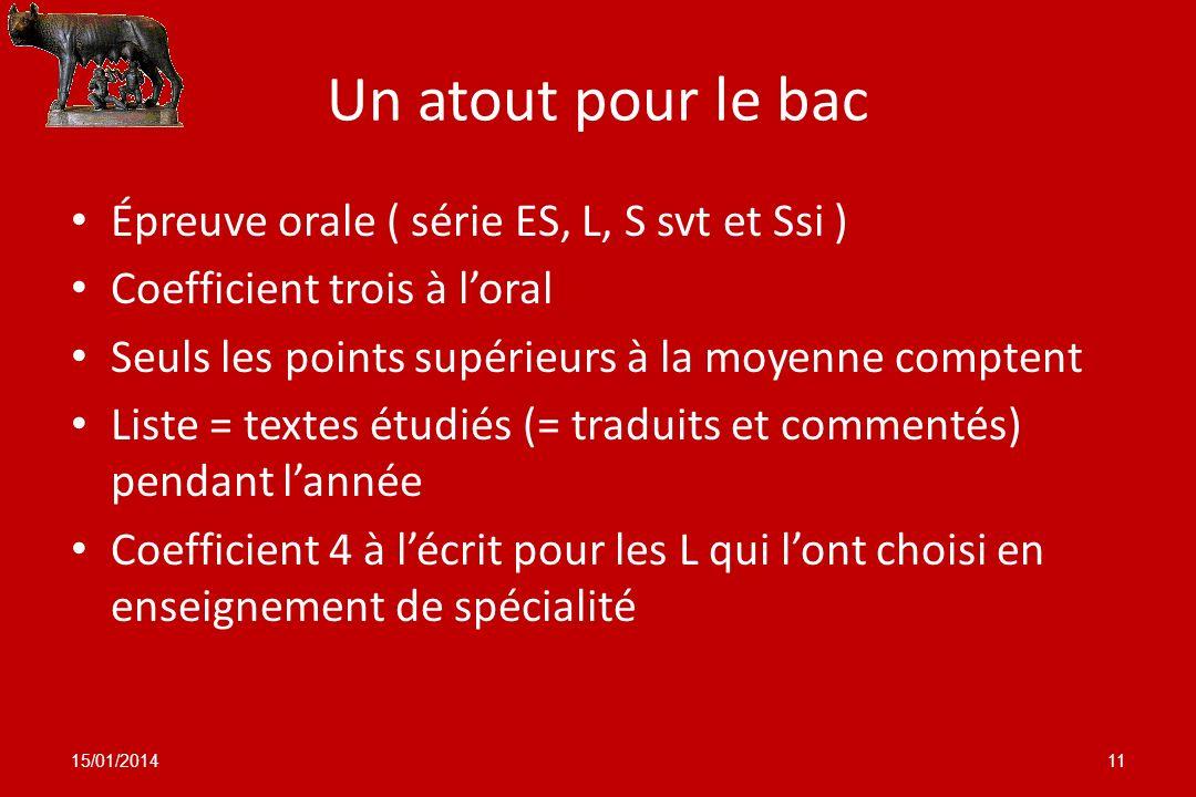 Un atout pour le bac Épreuve orale ( série ES, L, S svt et Ssi )