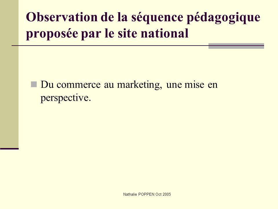 Observation de la séquence pédagogique proposée par le site national