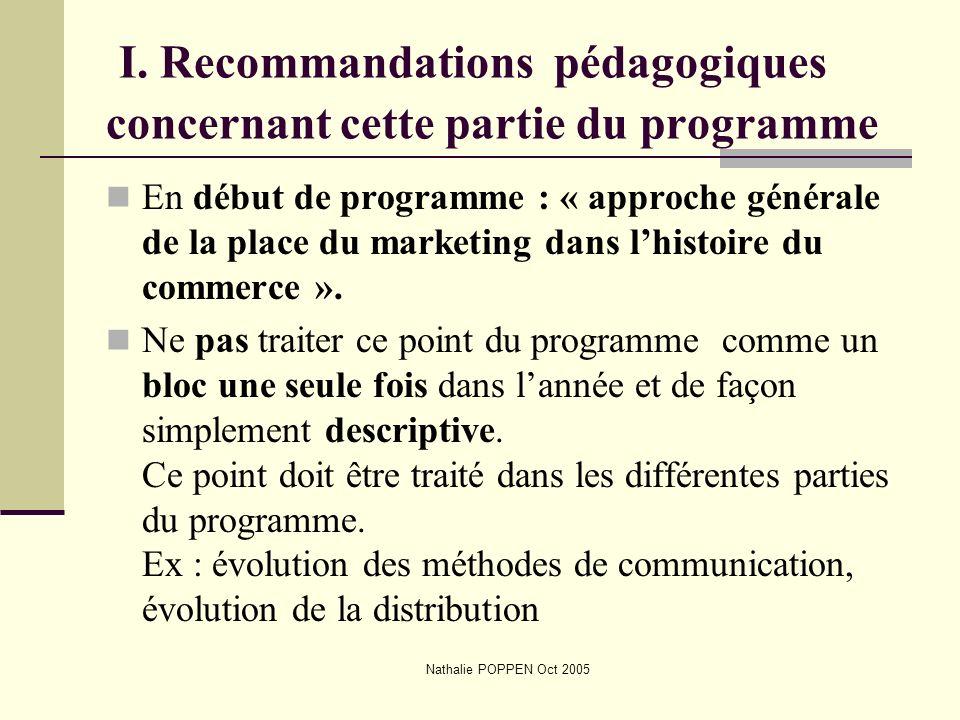 I. Recommandations pédagogiques concernant cette partie du programme