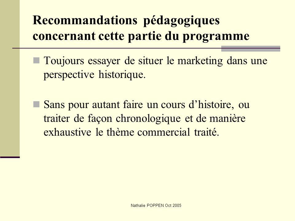 Recommandations pédagogiques concernant cette partie du programme
