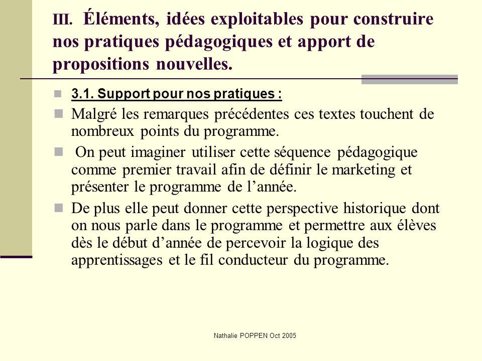 III. Éléments, idées exploitables pour construire nos pratiques pédagogiques et apport de propositions nouvelles.