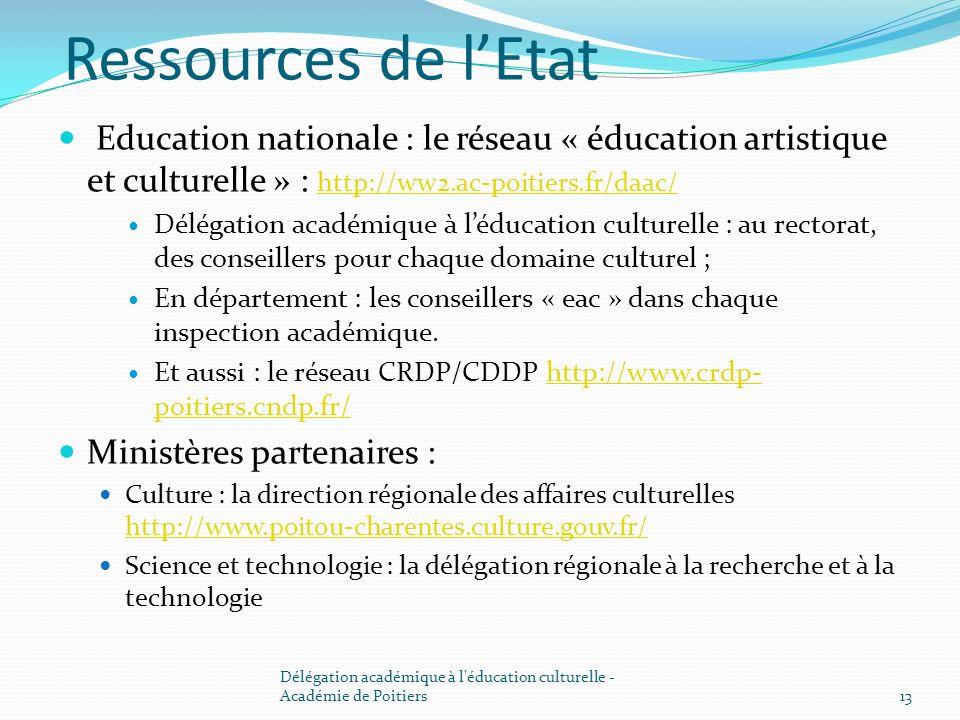Ressources de l'EtatEducation nationale : le réseau « éducation artistique et culturelle » : http://ww2.ac-poitiers.fr/daac/