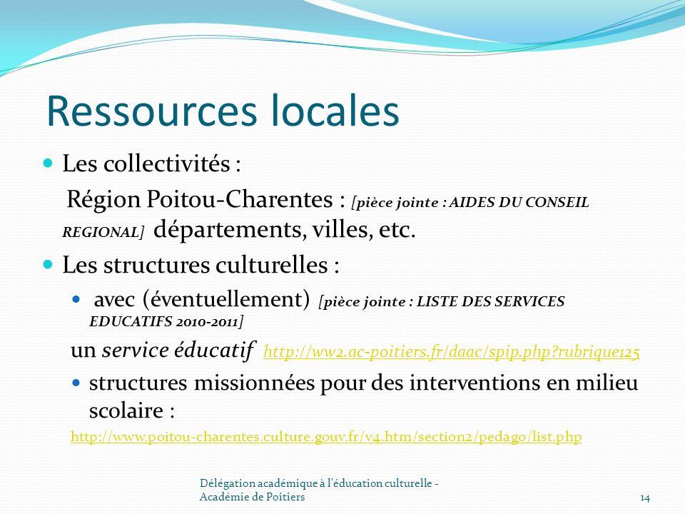 Ressources locales Les collectivités :