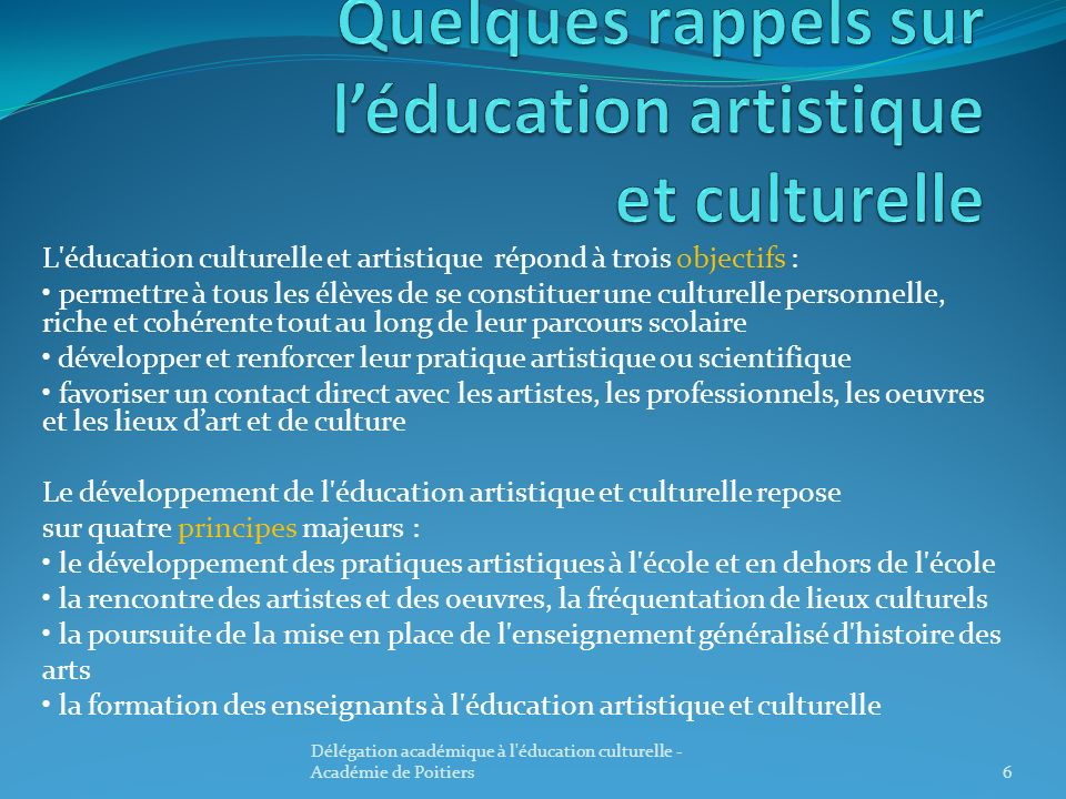 Quelques rappels sur l'éducation artistique et culturelle