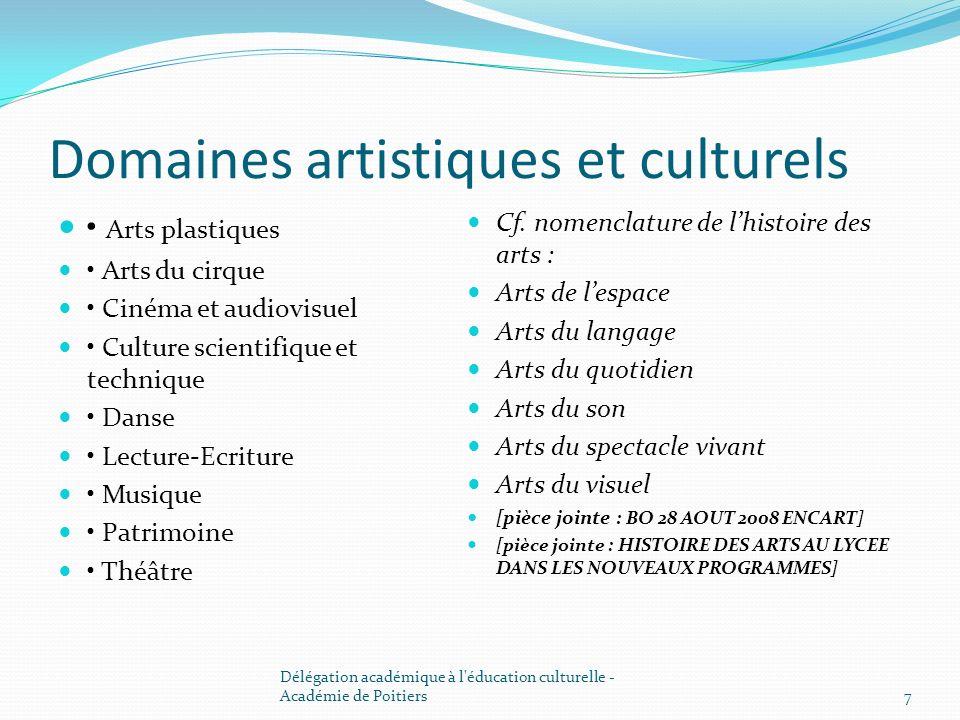 Domaines artistiques et culturels