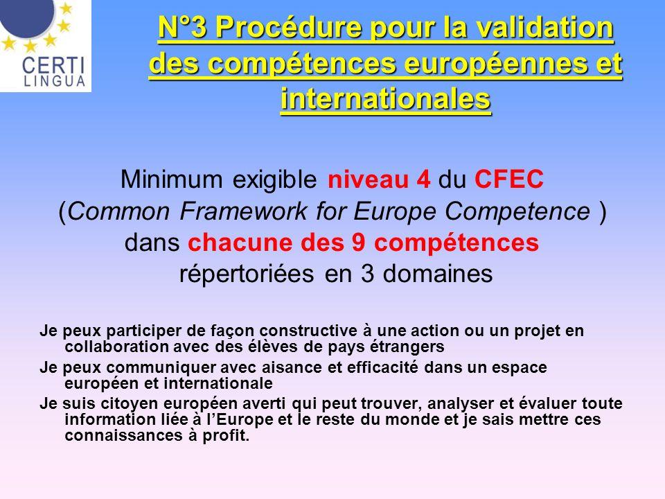 N°3 Procédure pour la validation des compétences européennes et internationales