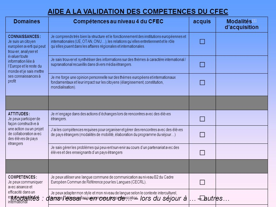 AIDE A LA VALIDATION DES COMPETENCES DU CFEC