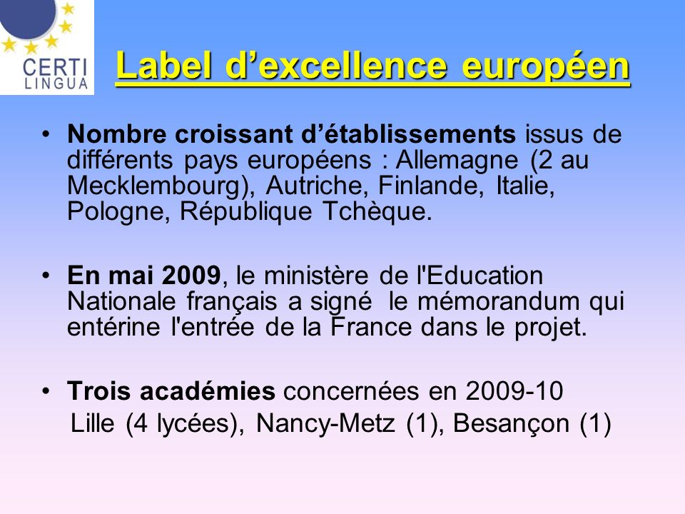 Label d'excellence européen