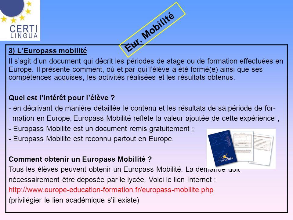 Eur. Mobilité 3) L'Europass mobilité