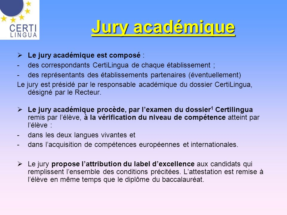 Jury académique Le jury académique est composé :