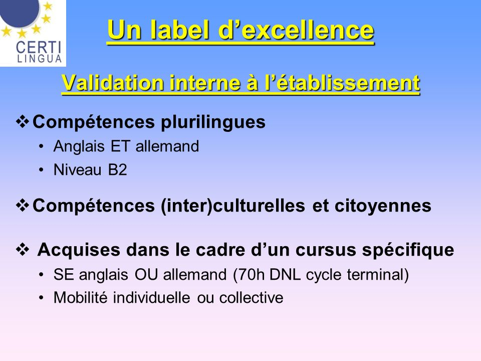 Validation interne à l'établissement