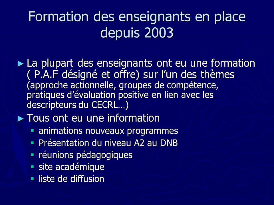 Formation des enseignants en place depuis 2003