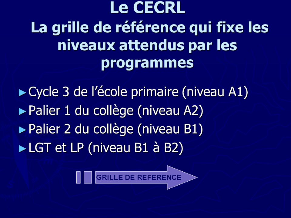 Le CECRL La grille de référence qui fixe les niveaux attendus par les programmes