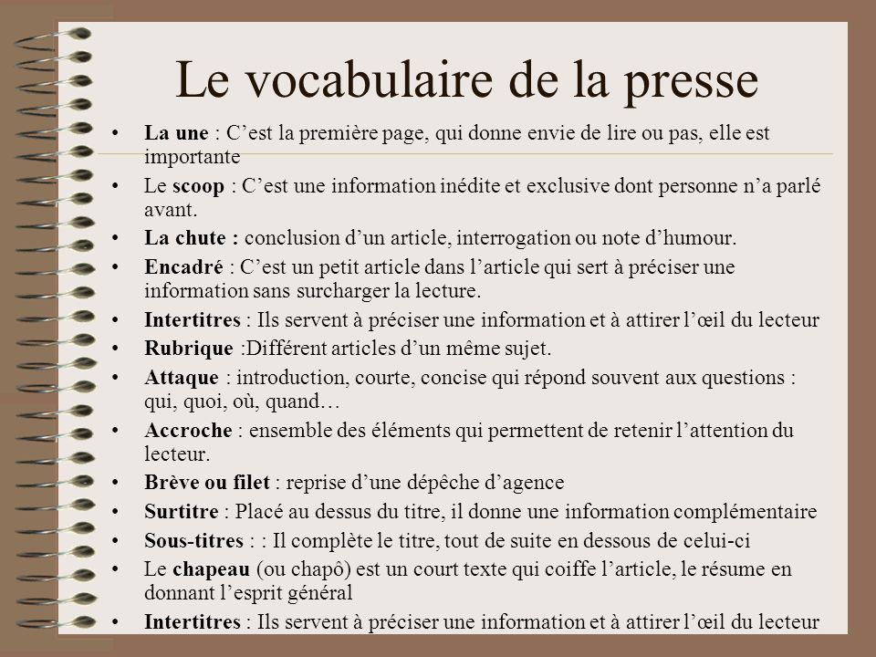 Le vocabulaire de la presse
