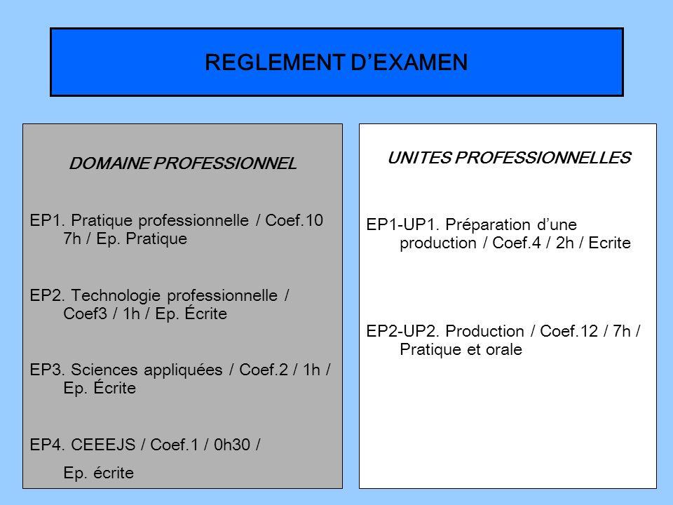 DOMAINE PROFESSIONNEL UNITES PROFESSIONNELLES