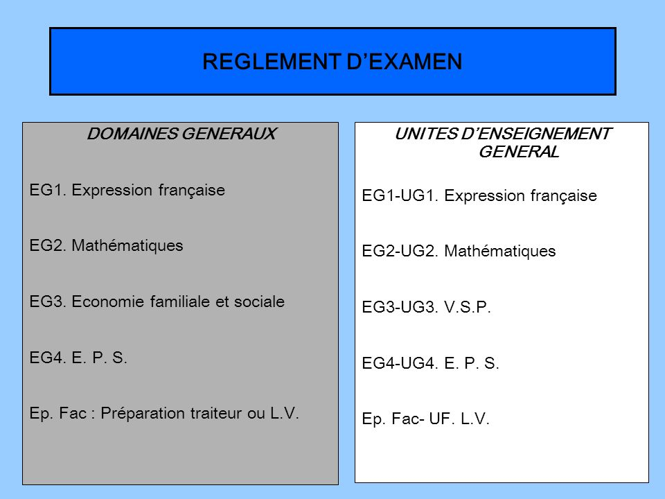 UNITES D'ENSEIGNEMENT GENERAL
