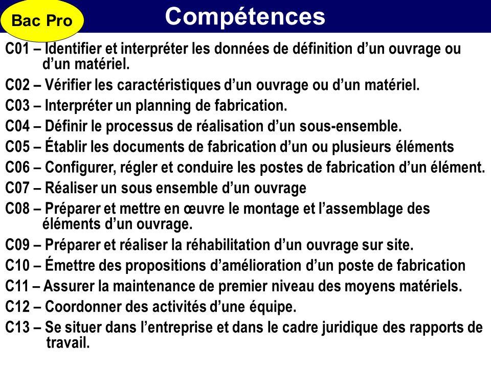 Bac Pro Compétences. C01 – Identifier et interpréter les données de définition d'un ouvrage ou. d'un matériel.