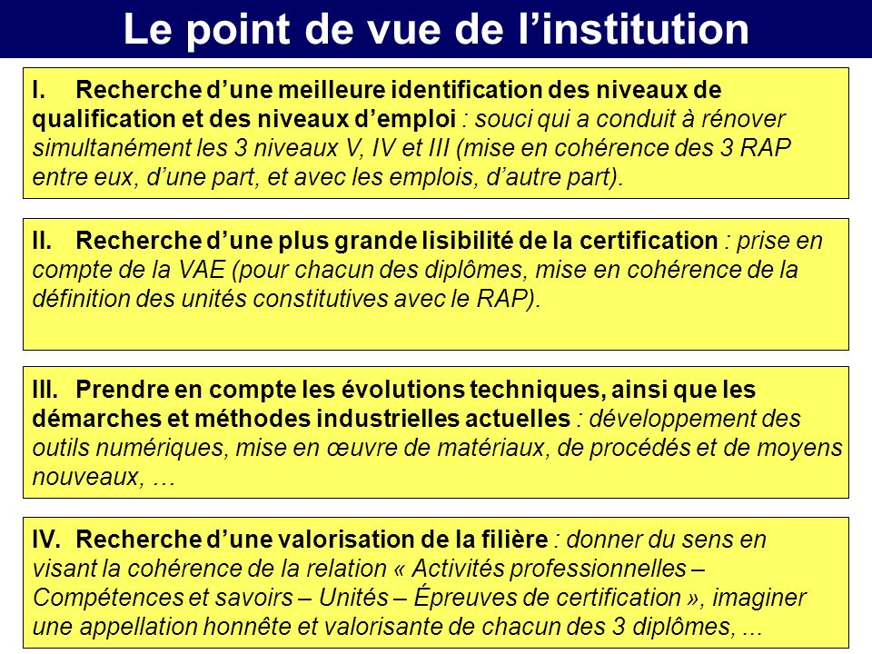 Le point de vue de l'institution