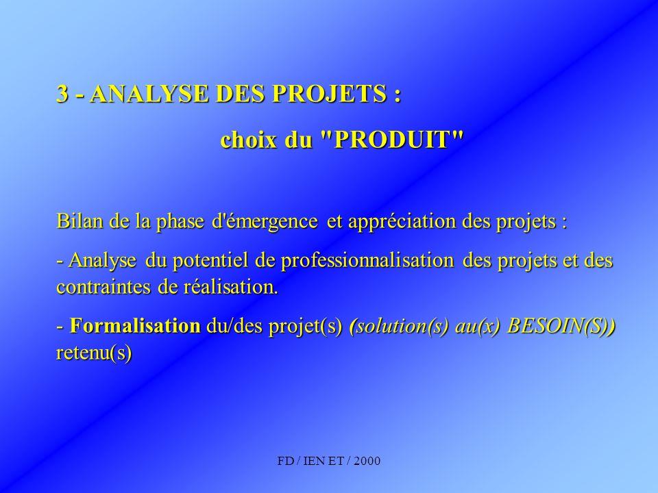 3 - ANALYSE DES PROJETS : choix du PRODUIT