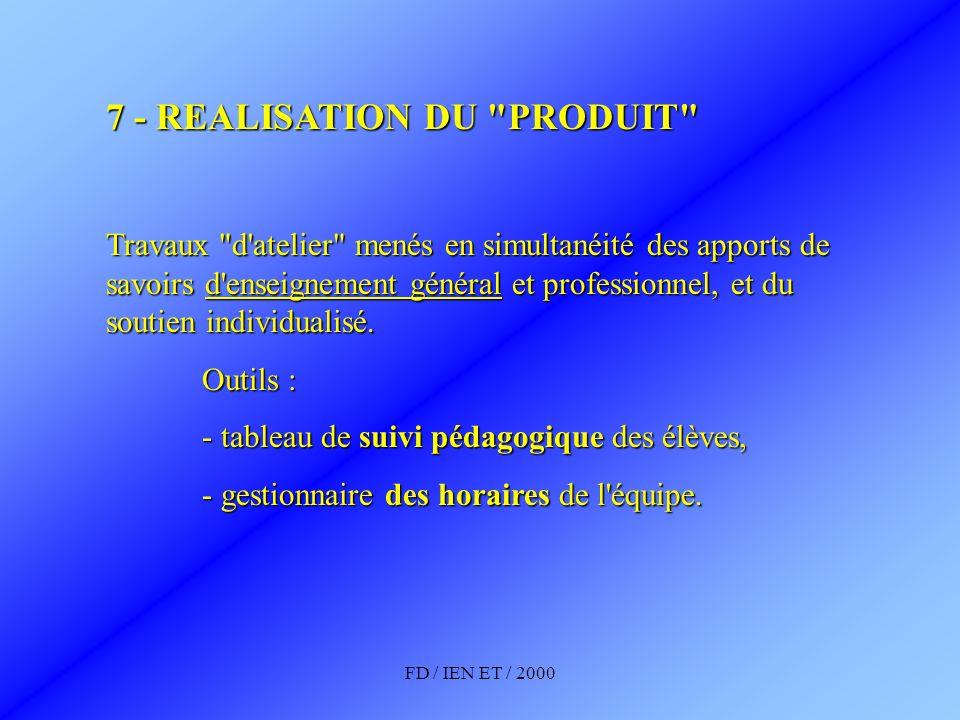 7 - REALISATION DU PRODUIT