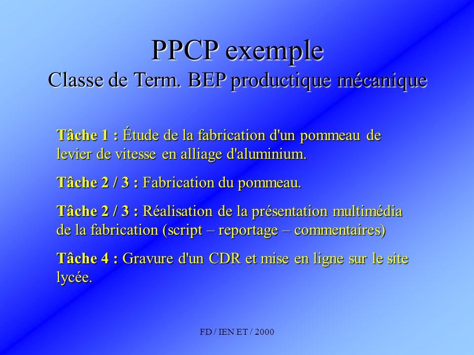 PPCP exemple Classe de Term. BEP productique mécanique
