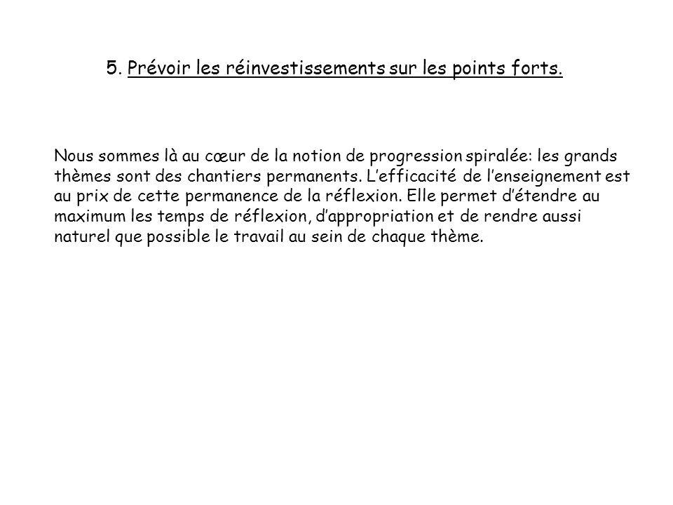 5. Prévoir les réinvestissements sur les points forts.