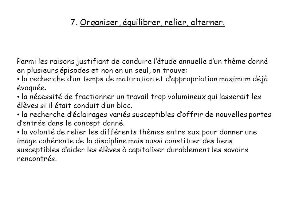 7. Organiser, équilibrer, relier, alterner.