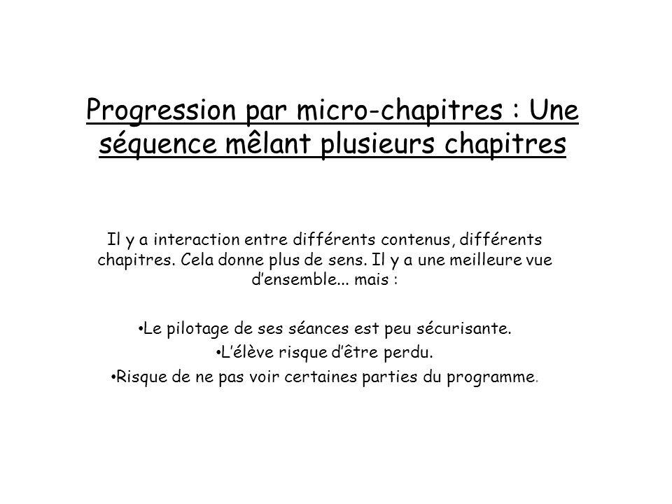 Progression par micro-chapitres : Une séquence mêlant plusieurs chapitres