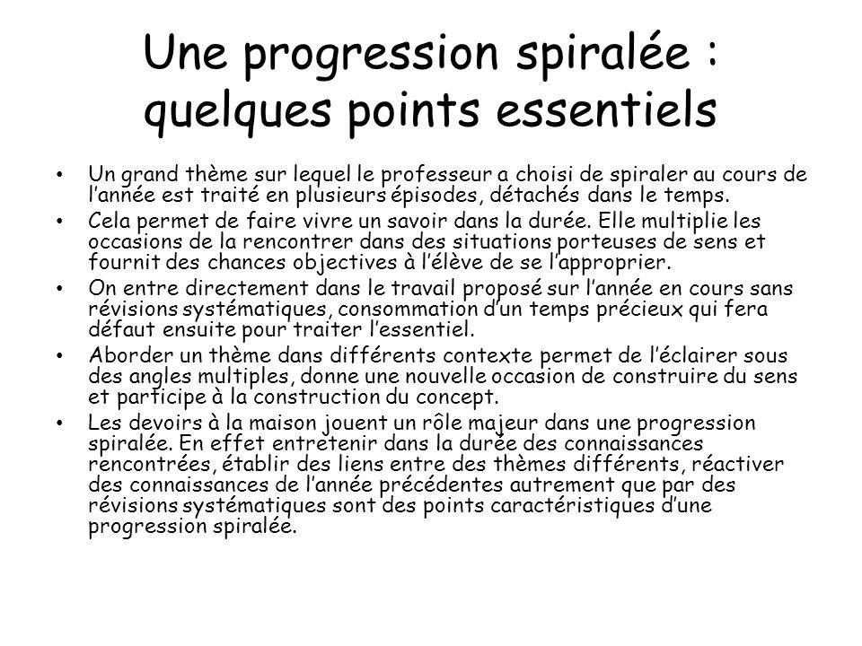 Une progression spiralée : quelques points essentiels