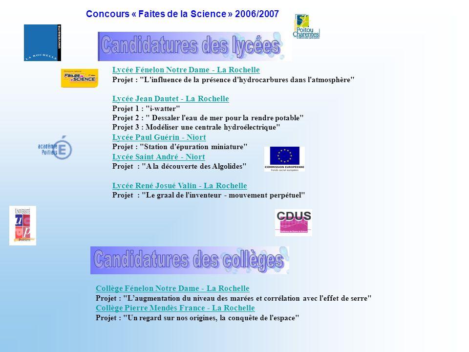 Concours « Faites de la Science » 2006/2007
