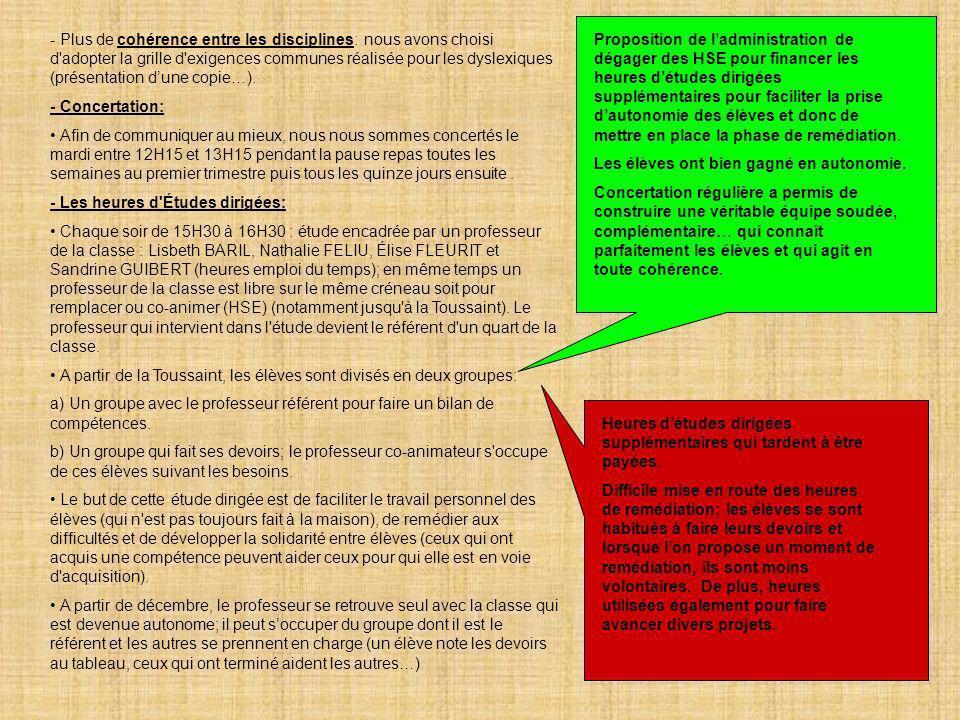 - Plus de cohérence entre les disciplines: nous avons choisi d adopter la grille d exigences communes réalisée pour les dyslexiques (présentation d'une copie…).